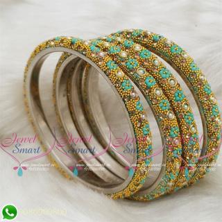 Lac Bangles Indian Jewellery Aquamarine Green Colour 4 Pieces Set Matching B18681