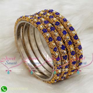 Lac Bangles Dark Blue Indian Jewellery 4 Pieces Set Matching B18672