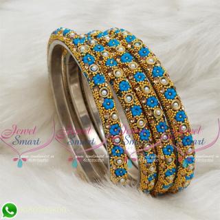 Lac Bangles Ferozi Blue Colour Indian Jewelry 4 Pieces Set Matching B18677