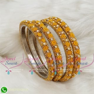 Lac Bangles Golden Yellow Colour Indian Jewelry 4 Pieces Set Matching B18675