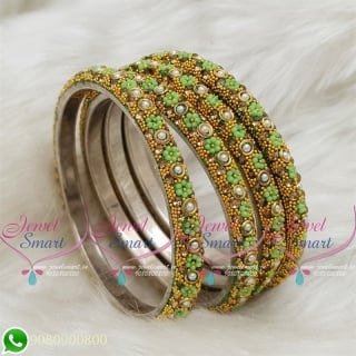 Lac Bangles Indian Jewellery Light Green Colour 4 Pieces Set Matching B18673
