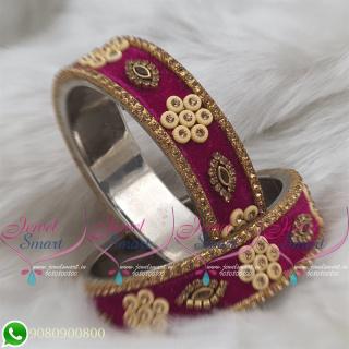 Magenta Colour Velvet Lac Bangles Handmade Brass Base Matching Jewellery B18669