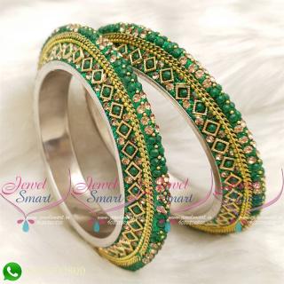 Green Colour Lac Bangles Handmade Brass Base Matching Jewellery B20506