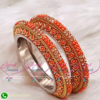 Orange Colour Lac Bangles Handmade Brass Base Matching Jewellery
