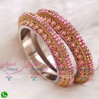 Light Pink Colour Lac Bangles Handmade Brass Base Matching Jewellery B20511