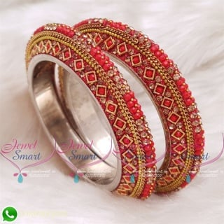 Red Colour Lac Bangles Handmade Brass Base Matching Jewellery B20512