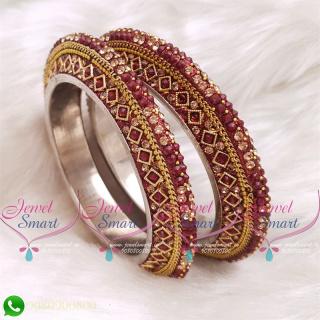 Maroon Colour Lac Bangles Handmade Brass Base Matching Jewellery B20513