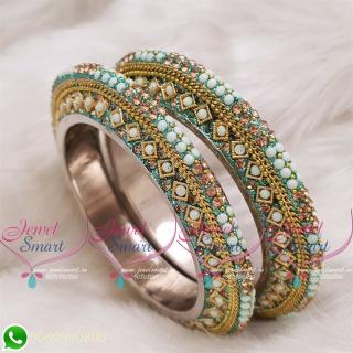 Light Pista Green Colour Lac Bangles Handmade Brass Base Matching Jewellery B20514