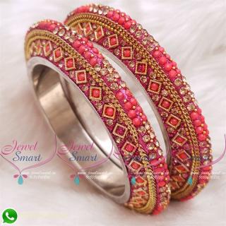 Reddish Pink Colour Lac Bangles Handmade Brass Base Matching Jewellery B20515