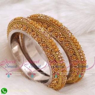 Yellow Ochre Colour Lac Bangles Handmade Brass Base Matching Jewellery B20516