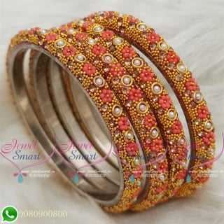 Lac Bangles Orange Colour Indian Jewelry 4 Pieces Set Matching B18674