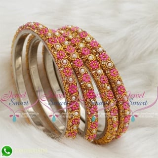 Lac Bangles Pink Colour Indian Jewelry 4 Pieces Set Matching B18680
