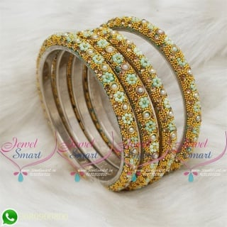 Lac Bangles Pista Green Colour Indian Jewelry 4 Pieces Set Matching B18679