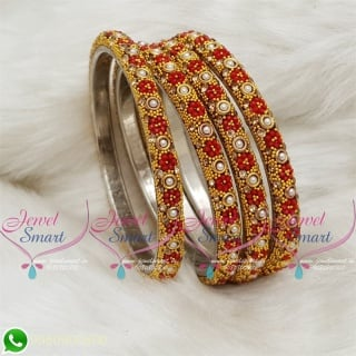 Lac Bangles Red Colour Indian Jewelry 4 Pieces Set Matching B18678