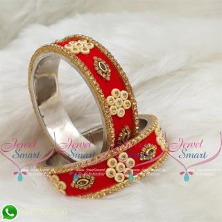 Red Colour Velvet Lac Bangles Handmade Brass Base Matching Jewellery B18666