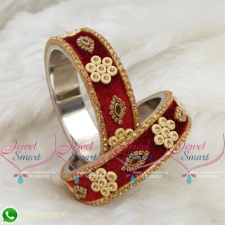 Maroon Colour Velvet Lac Bangles Handmade Brass Base Matching Jewellery B18655