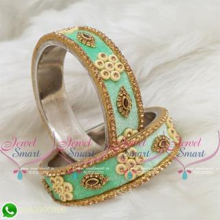 Pista Green Colour Velvet Lac Bangles Handmade Brass Base Matching Jewellery