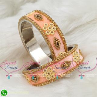 Light Peach Colour Velvet Lac Bangles Handmade Brass Base Matching Jewellery B18660