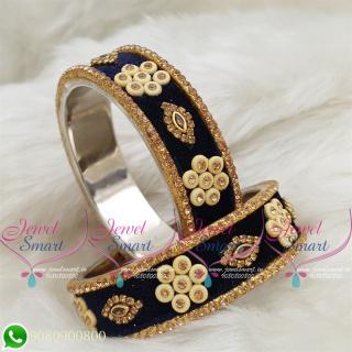 Dark Blue Colour Velvet Lac Bangles Handmade Brass Base Matching Jewellery B18661
