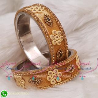 Golden Yellow Colour Velvet Lac Bangles Handmade Brass Base Matching Jewellery B18662