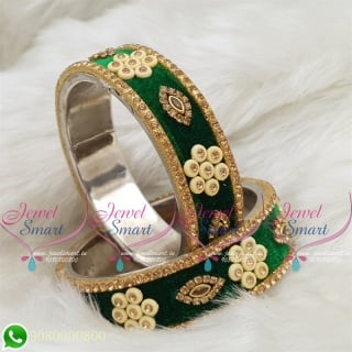 Green Colour Velvet Lac Bangles Handmade Brass Base Matching Jewellery B18665