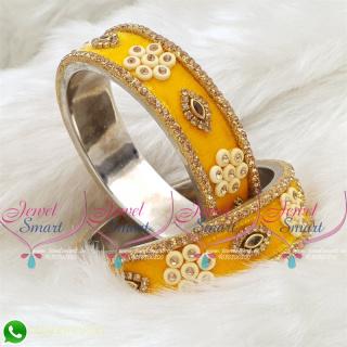 Yellow Colour Velvet Lac Bangles Handmade Brass Base Matching Jewellery B18667