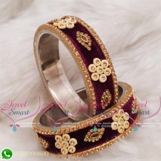 Violet Colour Velvet Lac Bangles Handmade Brass Base Matching Jewellery B18670