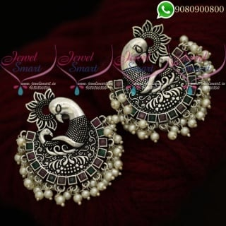 Oxidised Jewellery Silver Earrings Plated Ruby Emerald Stones ER20453