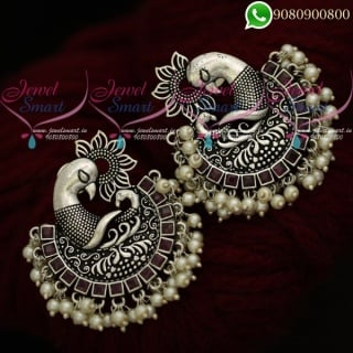 Silver Plated Earrings Big Size Oxidised Jewellery Ruby Stones Online ER20437