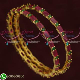 Ruby Emerald Bangles Bridal Jewellery Gold Plated Semi Precious Stones B20575