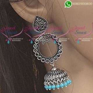 Silver Jhumka Oxidised Jewellery Blue Colour Fashion Jewellery J20064B