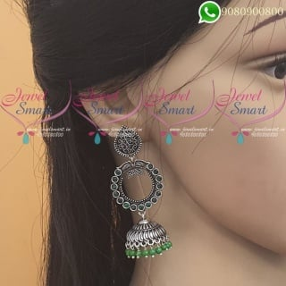 Silver Jhumka Oxidised Jewellery Green Colour Fashion Jewellery J20064G