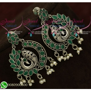 Silver Plated Earrings Peacock Green Oxidised Fashion Jewellery Shop Online ER20589