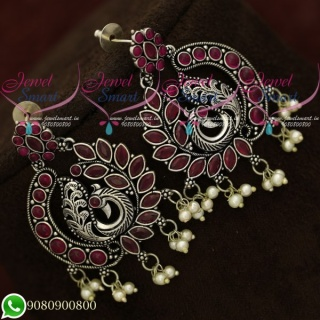 Silver Plated Earrings Ruby Peacock Oxidised Fashion Jewellery Shop Online ER20590