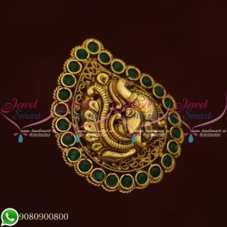 Temple Jewellery Finger Rings Antique Gold Plated Emerald Green F20606