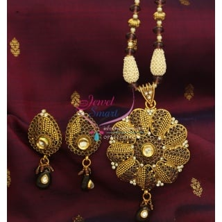 Gold Plated Semi Precious Beaded Jewelry Temple Pendant Without Earrings
