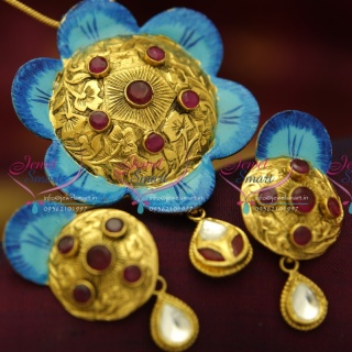 PS0959 Antique Hand Painting Beautiful Real Look Intricate Floral Design Pendant Set