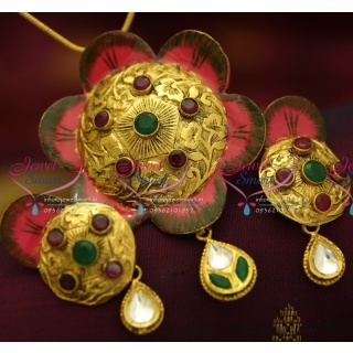 PS1155 Antique Hand Painting Beautiful Real Look Intricate Floral Design Pendant Set