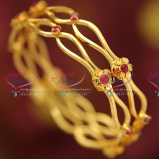 B4717S 2.4 Size Ruby Stones Delicate Floral Design Stylish Trendy Bangles Online