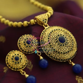 PS0055 Blue Colour Round Shape Gold Design Beads Mala Fashion Set Online Offer Price