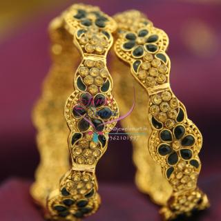 B1447B 2.8 Size Black Stones Meena Work Brass Metal Handwork Antique Gold Plated Bangles