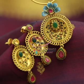 PS1528 Gold Design Antique Blue Painting Fancy Pendant Set Jewelry Online