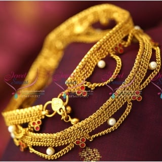 A5169 Antique Pearl Fancy Payal Anklet Leg Chain Fashion Jewellery Online