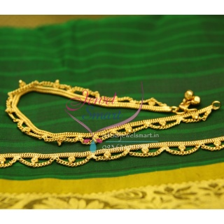 A2435 Gold Plated Fancy Design Imitation Payal Leg Chain Daily Use Anklets