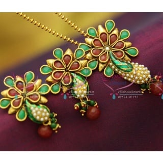 PS2852 Kundan Finish Red Green Pearl Antique Gold Plated Ball Chain 16 Inch Pendant Set Online Offer
