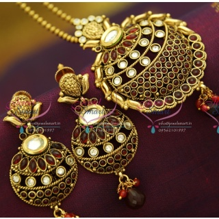 PS2854 Kundan Finish Antique Gold Plated Ball Chain 16 Inch Pendant Set Online Offer