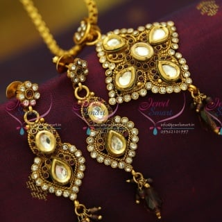 PS2855 Antique Gold Plated Chain Pendant Set Online Offer Value for Money