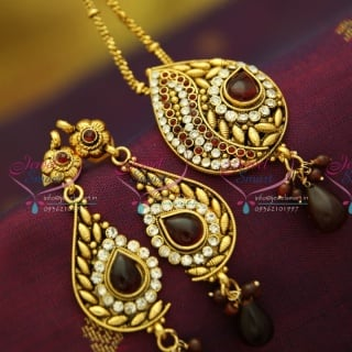 PS2858 Antique Gold Plated Chain Pendant Set Online Offer Value for Money