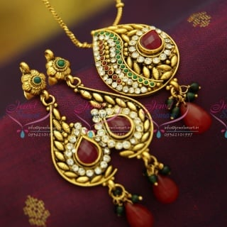 PS2859 Antique Gold Plated Chain Pendant Set Online Offer Value for Money