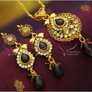 PS2861 Antique Gold Plated Chain Pendant Set Online Offer Value for Money